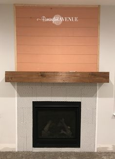 The easiest DIY wood mantel ever! I& not a pro, but this mantel looks so good! Come join me for a fun tutorial and inexpensive project! Diy Fireplace Mantel, Wood Mantels, Fireplace Ideas, Cottage Fireplace, Mantle Ideas, Fireplace Remodel, Diy Home Decor Rustic, Diy Kitchen Remodel, Craftsman Kitchen