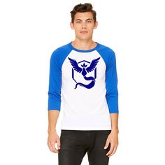 Premium Team Mystic from Pokemon Go 3/4 Sleeve Unisex Baseball Shirt  - Blue Team Logo / Mystic Logo - Pokemon Go Team Support   Sizes XS-XXL Available - Ladies, for a more fit feel/look I would order a size down.
