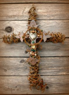 Extra Large Celtic Barbed Wire Cross with Steel Fleur de Lis Cross