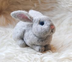 Needle Felted Rabbit, Handmade Animal, Needle Felted Hare, Cute Grey Bunny  - READY TO SHIP