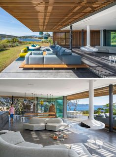 The outdoor living room f this modern villa seamlessly transitions into the indoor living room, that has a curved couch and a hanging fireplace.