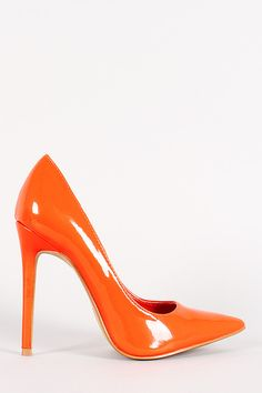 Description This simply gorgeous pointy toe , scooped vamp, stitching detail, stiletto heel, and finished with cushioned insole for comfort. Material: Patent (man-made) Sole: Synthetic Measurement Hee Orange Heels, All About Shoes, Killer Heels, Kinds Of Shoes, Stiletto Pumps, Suede Booties, Beautiful Shoes, Me Too Shoes, Fashion Shoes