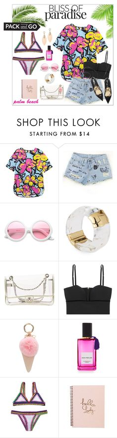 """Pack and Go: Labor Day"" by elafashionable ❤ liked on Polyvore featuring Markus Lupfer, ZeroUV, Alexis Bittar, Chanel, Alexander McQueen, Iphoria, Diana Vreeland Parfums, kiini and Packandgo"