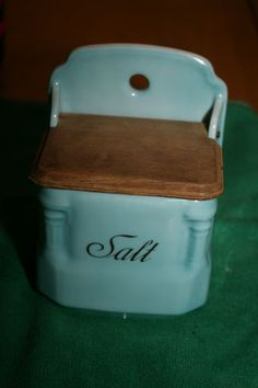 Antique Vintage Victoria China Czechoslovakia 3163 Salt Box Crock Blue Wood Lid | eBay