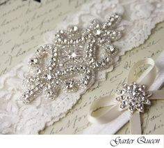 Ivory Lace Garter Set, Lace Wedding Garter set, Rhinestone Garter, Ivory Garter Set, Lace Bridal Garter Set, Personalized Garter by GarterQueen on Etsy https://www.etsy.com/au/listing/110479481/ivory-lace-garter-set-lace-wedding