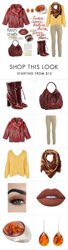 """Autumn"" by shearenvy ❤ liked on Polyvore featuring Malone Souliers, Beirn, Edun, Topshop, La Fiorentina, Lime Crime, Be-Jewelled, gold, Boots and amber"