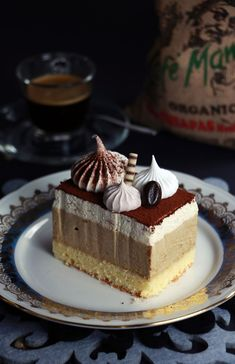 Coffee mousse slices / Tiramisu slices / Coffee slices / Kremaste kocke od kaf … – Famous Last Words Brownie Desserts, Mini Desserts, Vegan Desserts, Tiramisu Dessert, Pie Dessert, Baking Recipes, Cake Recipes, Nespresso Recipes, Coffee Mousse