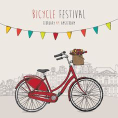 Bicycle Festival Vector Graphic — celebration, amsterdam, festive, drawing, poster, retro, ride, fest, bike