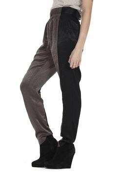 I like these color block pant. They look very comfortable and the shimmery two tone is unusual. Plus the loose and flowing cut would work well with so many outfits