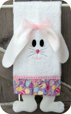 Towel Leg Designs :: Bunny Legs Towel - Embroidery Garden In the Hoop Machine Embroidery Designs