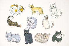 Handmade 10 Kinds Cats Flake Stickers - by niconecozakkaya on Etsy