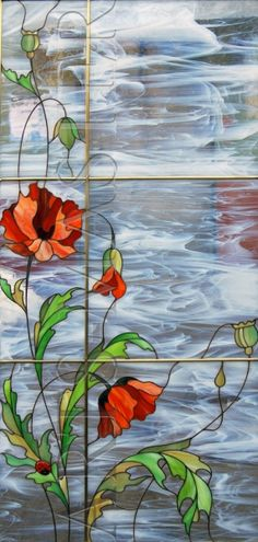 "Stained glass for interior door ""Poppies"" pinning because I like the white wave looking glass"