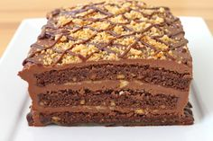 Amazing Chocolate and Peanut Butter Cake Recipe Best Cake Recipes, Sweets Recipes, Just Desserts, Delicious Desserts, Brownie Cake, Brownies, Chocolate Recipes, Chocolate Cakes, Tasty Bites