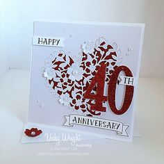 Hunky Dory Gifts 40th Wedding Anniversary Clock Butterfly Mirror Ruby 40 Years Of Marriage Boxed Gift