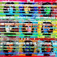 <p>CUBA - 2015 Tableau original abstrait sur toile de grand format 100x100. Peinture acrylique avec incrustation en arrière plan de collage sur le thème de Cuba. Effets de matière au couteau et aux couleurs vives. Inspiration sur le Ché.</p>