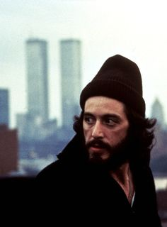 "Al Pacino in Serpico with NYC's brand-new ""Twin Towers"" in the background!"