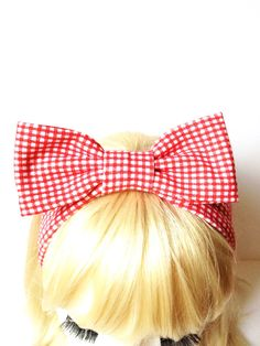 Lovely Retro Vintage Gingham Check Red White Kids Bow Head Band :) Love Factory By Rie Miyamoto on Etsy, $13.00