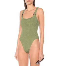 Domino green swimsuit Green Swimsuit, One Piece Swimsuit, Hunza G, Racerback Swimsuit, Overalls Women, Norma Kamali, Stella Mccartney Adidas, Green Fashion, Work Casual