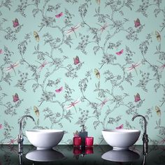 Nature Trail Duck Egg Wallpaper from the Modern Living Kitchen & Bath Collection by Graham & Brown Bathroom Wallpaper Victorian, Shabby Chic Wallpaper, Brown Wallpaper, Embossed Wallpaper, Wallpaper Online, Home Wallpaper, Easy Wallpaper, Shabby Chic Tapete, Dragonfly Wallpaper