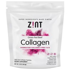 Zint, Grass-Fed Beef Collagen, Hydrolyzed Collagen Types I & III, 2 oz g) - iHerb Amazing Grass, Beauty Vitamins, Collagen Powder, Protein Blend, Strong Nails, Protein Supplements, Sustainable Food, Type I, Grass Fed Beef