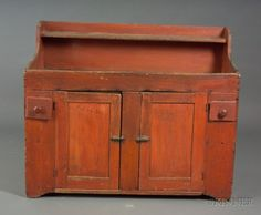 Red-painted Wooden Dry Sink.