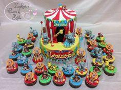 circus cake and cupcakes