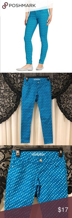 """Old Navy Rock Star Polka Dot Skinny Jean 2 Petite Jeans are by Old Navy and are a size 2 petite. They're a bright teal color with light blue polka dots and are in their """"Rock Star"""" skinny style. Jeans are in great preloved condition and are 98% Cotton 2% Lycra Spandex. Approximate measurements: (24in waist- 6in rise- 26in inseam- 32in outseam)  Not accepting trades Old Navy Jeans Skinny"""