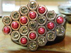OOAK Hex Nut Belt Buckle with bling by gr8byz on Etsy, $25.00