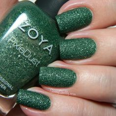 Zoya - Chita | ZP699 | PixieDust Fall 2013 |  Forest green in a matte, textured, sparkling finish.