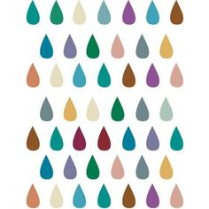 Raindrops on white - Colorful Multicolor Drops - 8 x 10 Print ($17) ❤ liked on Polyvore