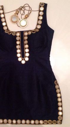 Kameez for black suit with mirror work