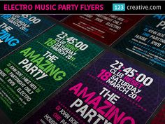 NEW ELECTRO MUSIC PARTY FLYER TEMPLATES at 123creative.com  Various Party Flyer Templates - minimal design with typography (DJ name, Nightclub, Date) on modern background usable for any dance, electronic music party (House, Dubstep, etc.), as invitation, advertising or print material. Fully editable. Many color variations.  View more (click here): http://www.123creative.com/100-print-graphic-templates-flyer-poster-card-designs