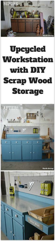 This pretty upcycled workstation with built-in DIY scrap wood storage started as an ugly laundry room cabinet. With paint and power tools, it looks amazing!