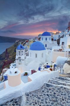 Oia sundown ~ Santorini Island, Greece-- Stood on these steps and watched the sunset a month ago.. Take me back