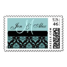 Tiffany Blue Damask Monogram Names Wedding Postage - Wedding Stamps