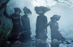 'Rebel Riders', Vogue Italia December 2015. Photographer: Tim Walker Featuring models Anna Cleveland, Christina Carey, Erin O'Connor and Jamie Bochert. Styled by Jacob K; Makeup by Val Garland; hair...