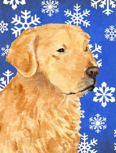 Golden Retriever Winter Snowflakes Holiday Flag Canvas House Size