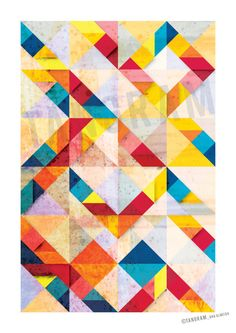Tangram Geometric Art Abstract Poster A3 Wall by TANGRAMartworks