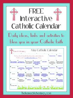May Catholic Family Calendar - perfect for Catholic homeschooling families, or any Catholic family wanting to live the liturgical year! Celebrate your faith every day, not just at Mass on Sundays!