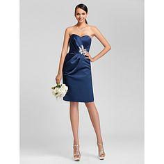 Lanting+Knee-length+Satin+Bridesmaid+Dress+-+Dark+Navy+Plus+Sizes+/+Petite+Sheath/Column+Sweetheart+/+Strapless+–+USD+$+69.99