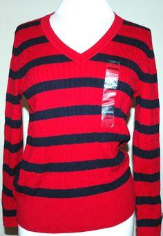 Tommy Hilfiger W's Cable Knit V-Neck Sweater Striped Red/Navy Size XL $39.98 NWT #TommyHilfiger #VNeck