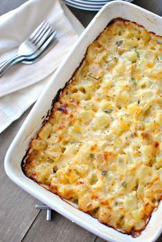 Looking for a homemade cheesy potatoes recipe that doesn't call for a can of condensed soup? This is it! Healthy, delicious and from scratch!