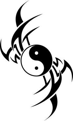tribal dragon by on DeviantArt Tribal Drawings, Tribal Tattoo Designs, Cool Art Drawings, Tribal Art, Tattoo Drawings, Tribal Tattoos, Ying Yang, Arte Yin Yang, Yin Yang Art
