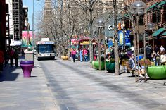 16th St. Mall, Denver. An outdoor mall filled with shops and restaurants and TONS of people on warm, sunny days. It is so vast you really need to take the free shuttle up and down to save time.