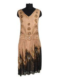 Drop Waist Beaded Evening Dress, ca. 1920s