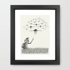 """I Saw Drones"" Framed Print by Alex G Griffiths on Society6."