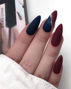 and Hottest Matte Nail Art Designs Ideas 2019 elegant almond matte nails design ideas; almond nails The post and Hottest Matte Nail Art Designs Ideas 2019 & Style appeared first on Fall nails . Matte Almond Nails, Short Almond Nails, Matte Nail Art, Almond Nail Art, Nail Art Blue, Fall Almond Nails, Almond Nails Designs, Red Nail Designs, Nagel Gel