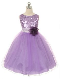 Lilac Sequined Bodice with Double Tulle Skirt Flower Girl Dress (Sizes Infant-14 in 12 Colors)