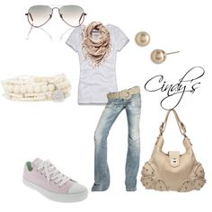 White Tee,Jens and pink...., created by cindycook10 on Polyvore