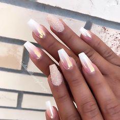 nails french tip / nails french tip - nails french tip color - nails french tip with design - nails french tip glitter - nails french tip ombre - nails french tip coffin - nails french tip acrylic - nails french tip short Chrome Nails Designs, Acrylic Nail Designs, Nail Art Designs, Classy Nail Designs, Glam Nails, Beauty Nails, My Nails, Jade Nails, Classy Nails